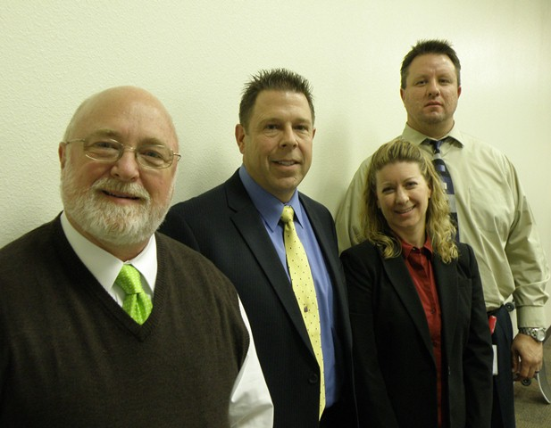 Research Colloquium presenters (from left) Dr. Timothy Larkin, Dr. Timothy Dahlstrom, Kelly Damron and Jeff Martin.