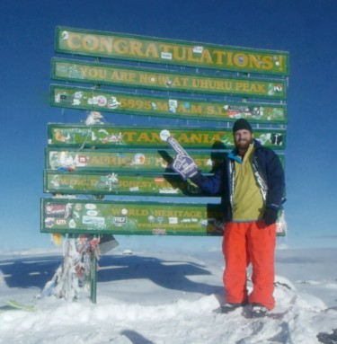 Josh Nelson and his GCU foam finger at the summit of Mount Kilimanjaro in December.