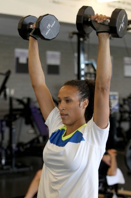 Former Olympian Jackie Johnson, now a GCU employee, likes to work out at the Rec Center.