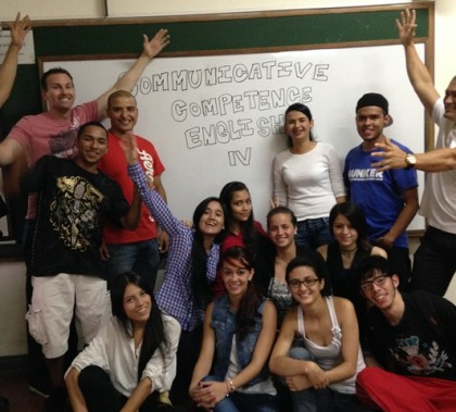 Jim Mostofo (top left) with some of the Colombian students and the professor he shadowed, Juan Gomez.