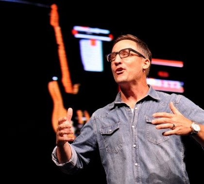 Brian Kruckberg of New City Church in Phoenix received a warm GCU Chapel welcome on Monday. Photo by Alexis Bolze