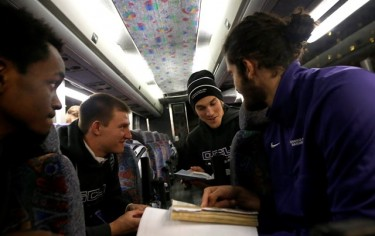 GCU players Joshua Braun, Ryan Majerle and Daniel Alexander discuss their favorite Bible verses on the bus to Rupp Arena.