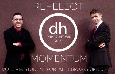 Junior Cody Dumas (left) is running for re-election as ASGCU president with vice-presidential candidate sophomore Slate Herman.