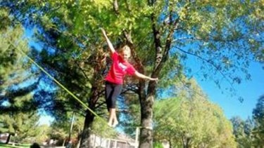 Wiemeyer shows her slacklining form.