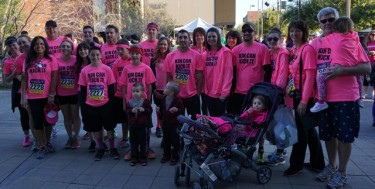 "McKindree ""Kin"" Patton wasn't able to attend the run because she is recovering from a bone-marrow transplant, but she had a big team there in her place."