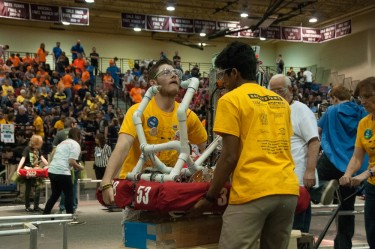 The FIRST Arizona Robotics Competition is typically marked by high-energy students and remarkable robots programmed to perform  for the audience. GCU hosts a West regional event Friday-Saturday. (Courtesy of Microchip/FIRST Arizona)