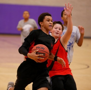 Basketball campers get instruction from GCU coaches and players and also get to play pickup games.