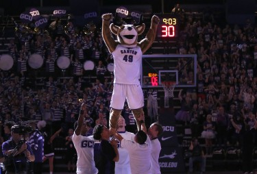Thunder often interacts with the GCU cheerleaders. (Photo by Darryl Webb)