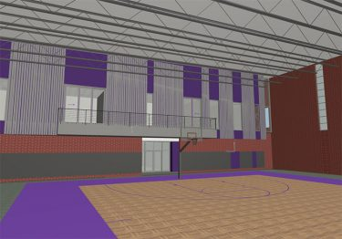 Artist's rendering of the new basketball practice facility, scheduled to be completed in January.