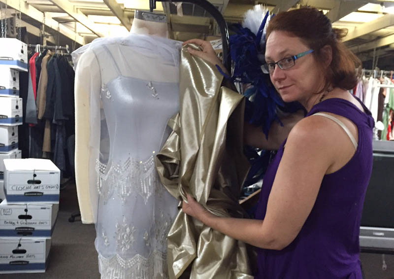 "Costume Designer Nola Yergin, now finished with ""The Mousetrap,"" is working on 150 costumes for ""Of Thee I Sing."""