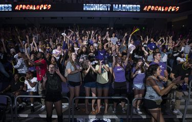"A big crowd packed the Arena on Friday night for Midnight Madness, dubbed the ""Apocalopes."""